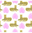 leopard and tropical leaves animal pattern vector image vector image