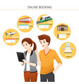 man and woman buying online tickets vector image vector image
