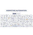 marketing automation doodle concept vector image vector image