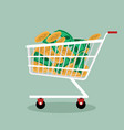 money and coins in shopping cart vector image