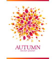 red autumn leaves circle poster template vector image vector image