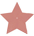 red five-pointed star creates an optical vector image