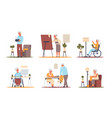 senior people at home pensioners hobby elderly vector image vector image