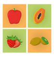 set of fruits cartoons vector image vector image