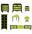 Set silhouettes of cupboard chests black interior vector image vector image