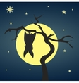 Silhouette bat hanging on a dry tree vector image vector image