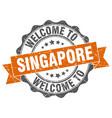 singapore round ribbon seal vector image vector image