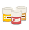 small containers with gouache paint isolated vector image vector image