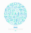 space concept in circle with thin line icons vector image vector image