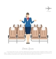 Stewardess transplants passengers in the airplane vector image