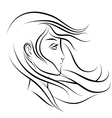 stylized woman face profile vector image vector image