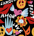 Valentines day retro hippie seamless pattern vector image