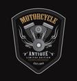 vintage motorcycle engine logo shield emblem vector image