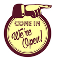 We are open sign hand pointing finger vector image vector image