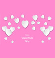 white hearts on a pink background with paper cut vector image