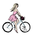 woman in dress on bicycle vector image vector image