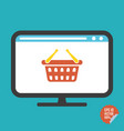 shopping basket on screen flat icon vector image