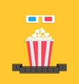 3d paper red blue glasses and big popcorn box vector image vector image