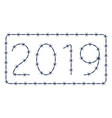 barbed wire 2019 lettering vector image