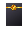 black holiday gift card with golden ribbon and bow vector image vector image