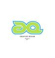 blue green alphabet letter aq a q logo icon design vector image vector image