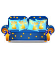 blue sofa with gold armrests and an ornament in vector image vector image