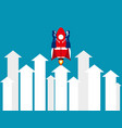 business person flying with rocket growing up vector image