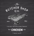 Butcher Shop vintage emblem chicken meat products vector image