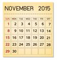 calendar 2015 11 November vector image vector image