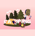 camping concept characters spend time at summer vector image vector image
