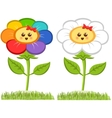 Cartoon Smiling Flower Happy Daisy Isolated On