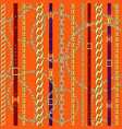 chains and belts orange background vector image