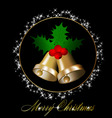 christmas bells with holly berries vector image
