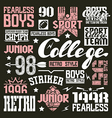 College rugby team design elements vector image