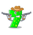 cowboy character paper cut number seven letter vector image vector image
