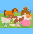 cute farm animal characters group vector image