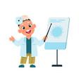 cute kid doctor cartoon boy in white medical suit vector image