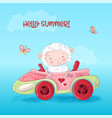 cute sheep is sitting in a car vector image vector image