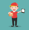 deliveryman with boxes and clipboard vector image