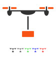 drone shipment flat icon vector image vector image