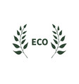 eco banner with two branches symbol logo emblem vector image