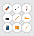 flat icon stationery set of drawing tool sticky vector image vector image