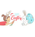 funny greeting happy easter card girls white vector image vector image