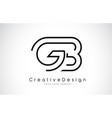 gb g b letter logo design in black colors vector image vector image