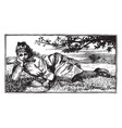 girl laying in field relax vintage engraving vector image vector image