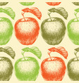 hand drawn apple seamless pattern in bright colors vector image vector image