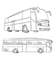 Hand drawn transport set Bus vector image