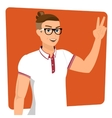 Handsome guy wearing glasses close-up vector image vector image