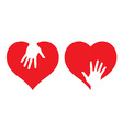 Hearts with helping hands vector image