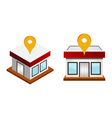 houses with map pin vector image vector image